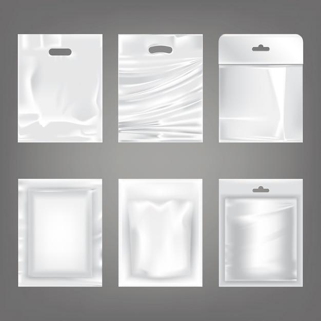 Set di illustrazioni vettoriali di plastica bianca borse vuote, imballaggio Vettore gratuito