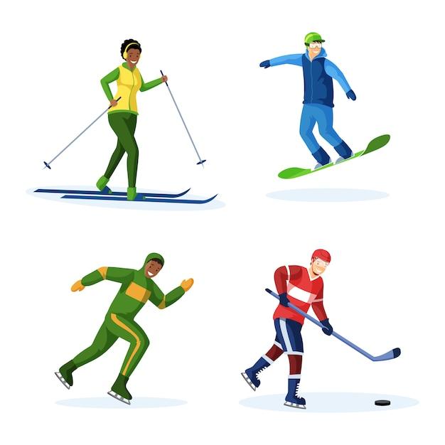 Set di illustrazioni vettoriali piatta attività invernali Vettore Premium