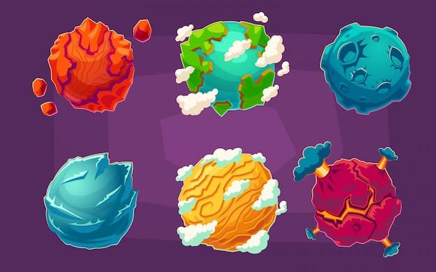 Set di illustrazioni vettoriali vettoriali fantasie pianeti alieni Vettore gratuito