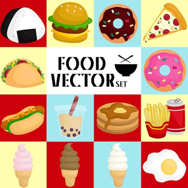 Set di immagini alimentari Vettore Premium