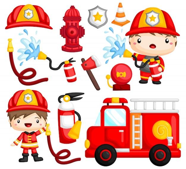 Set di immagini del vigile del fuoco Vettore Premium