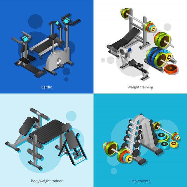 Set di immagini dell'attrezzatura di forma fisica Vettore Premium