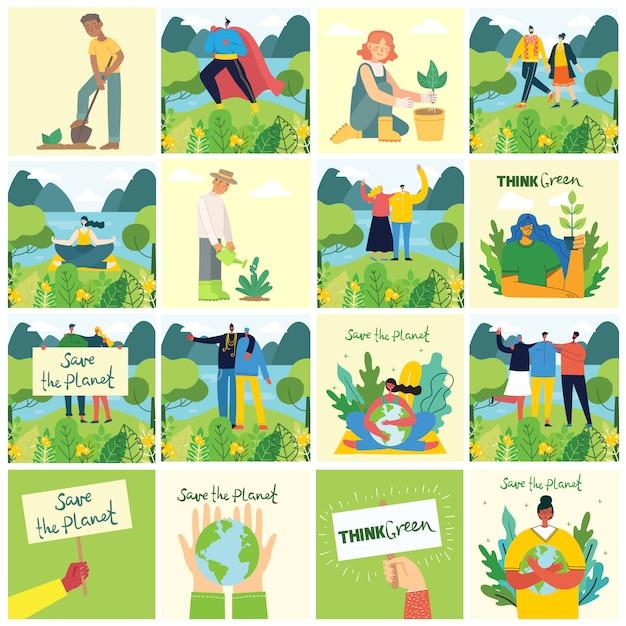 Set di immagini di ambiente di salvataggio eco. persone che si prendono cura del pianeta collage. zero sprechi, pensa al verde, salva il pianeta, il testo scritto a mano nella nostra casa dal design piatto Vettore Premium