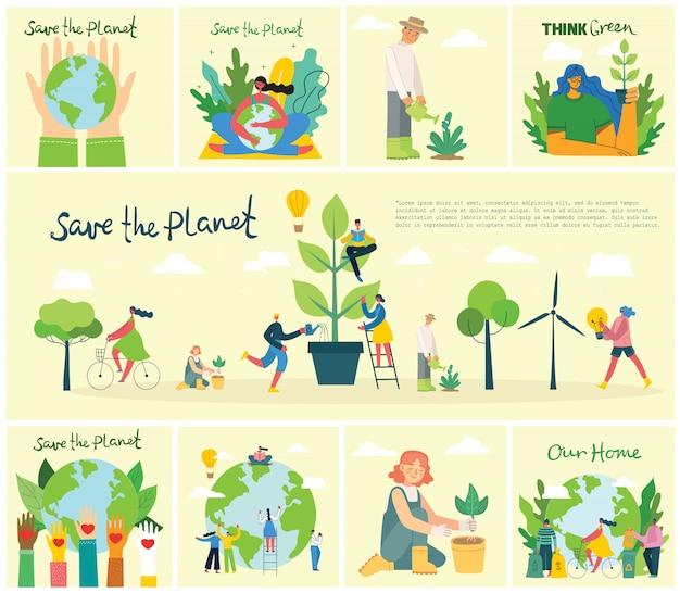 Set di immagini di ambiente di salvataggio eco. persone che si prendono cura del pianeta collage Vettore Premium