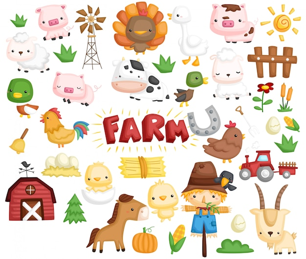 Set di immagini di animali da fattoria Vettore Premium