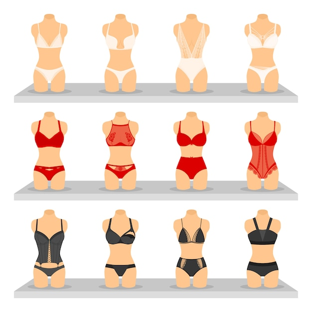Set di immagini di lingerie di moda Vettore gratuito