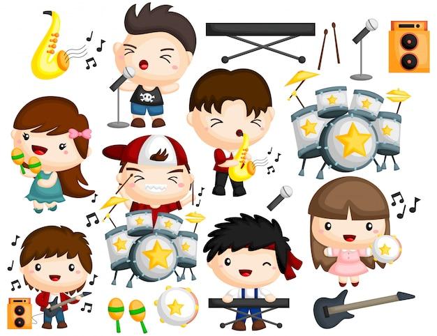 Set di immagini di musica band Vettore Premium