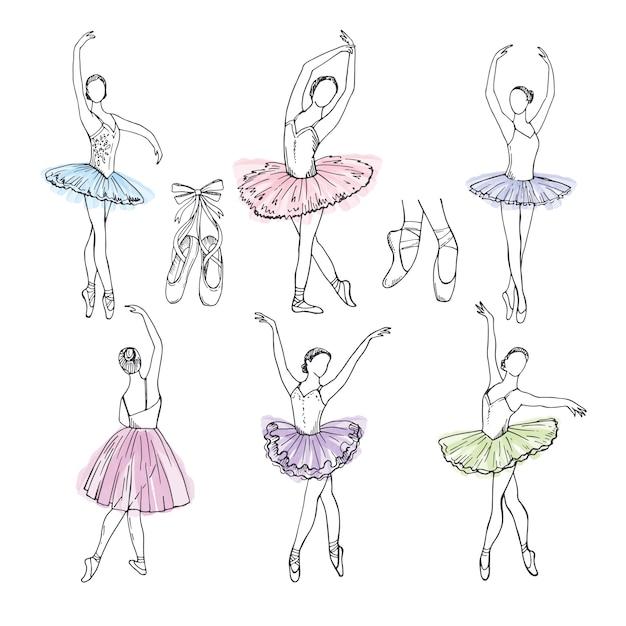 Set di immagini disegnate a mano artistica del tema del teatro. ballerine che ballano Vettore Premium