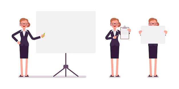 Set di imprenditrice in abbigliamento formale con cornici per copyspace Vettore Premium
