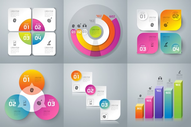 Set di infografica aziendali Vettore Premium