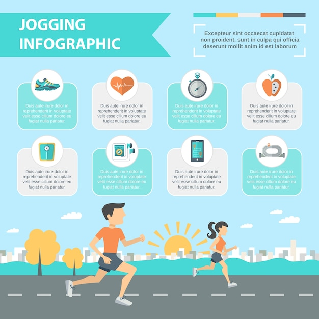 Set di infografica da jogging Vettore gratuito