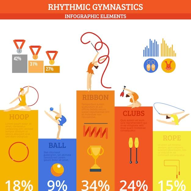 Set di infografica di ginnastica Vettore Premium