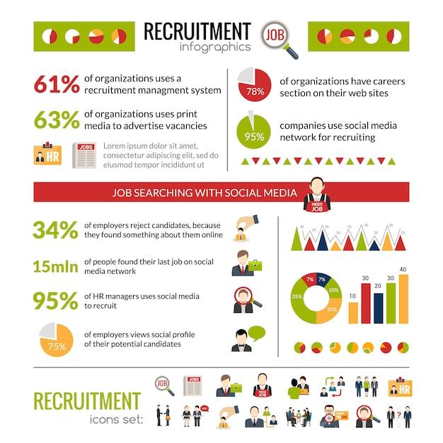 Set di infografica di reclutamento Vettore gratuito
