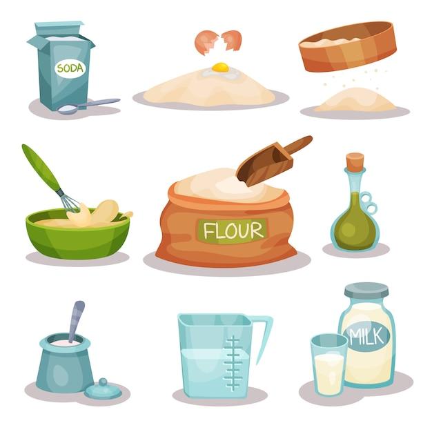 Set di ingredienti da forno, utensili da cucina e prodotti per la cottura e la cottura Vettore Premium