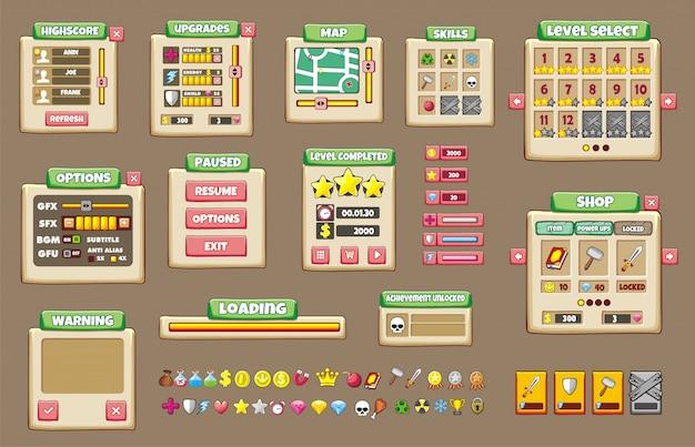 Set di interfaccia di gioco con pulsanti Vettore Premium