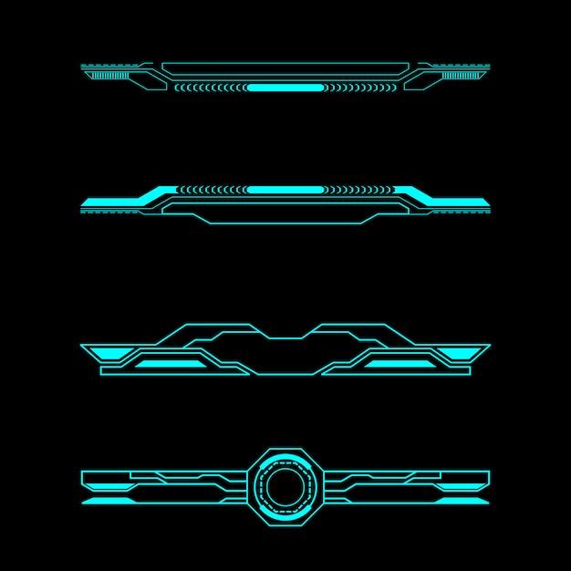 Set di intestazione elementi futuristici pannello di controllo dell'interfaccia Vettore Premium