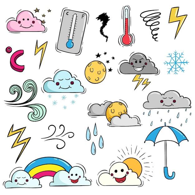 Set di kawaii meteo con espressione carina utilizzando stile doodle colorato Vettore Premium