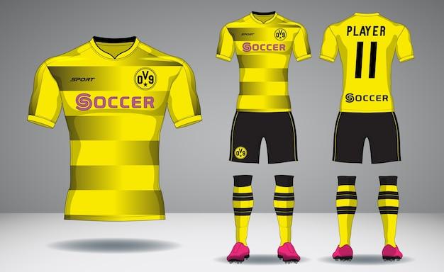 Set di kit calcio, design sportivo t-shirt. Vettore Premium
