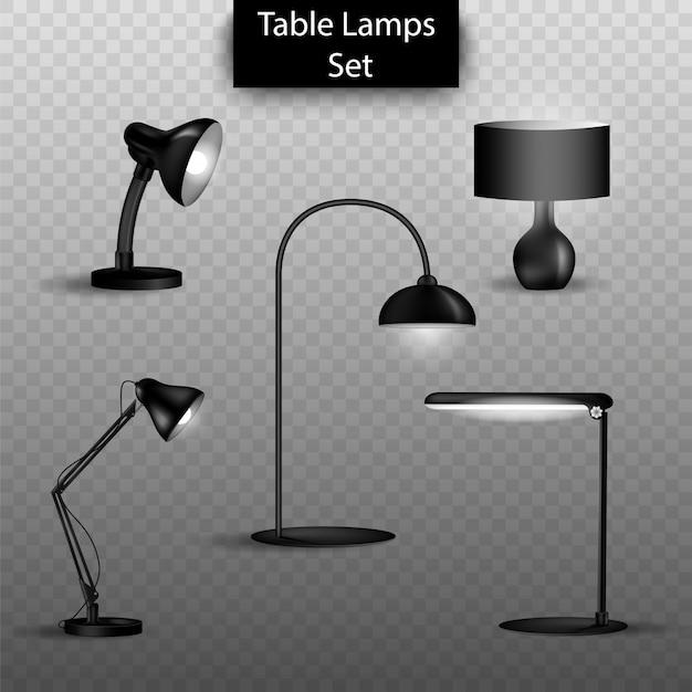 Set di lampade da tavolo 3d isolato. elementi di interior design per la casa. Vettore Premium