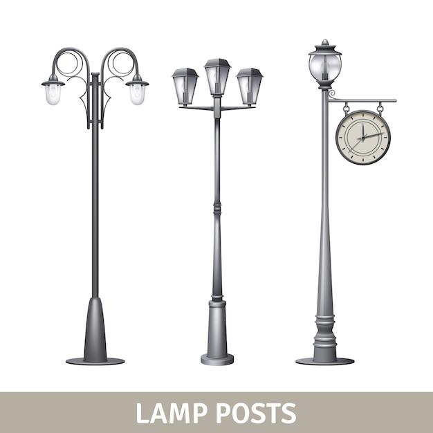 Set di lampioni elettrici vecchio stile lampada post Vettore gratuito