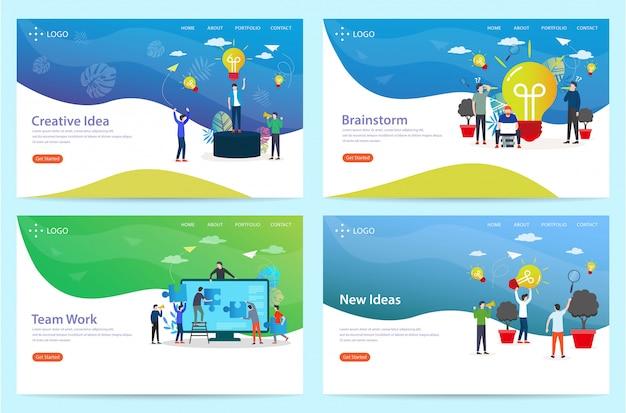 Set di landing page con il tema brainstorming, illustrazione Vettore Premium