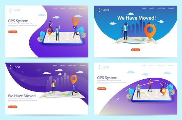 Set di landing page con tema della posizione, illustrazione Vettore Premium