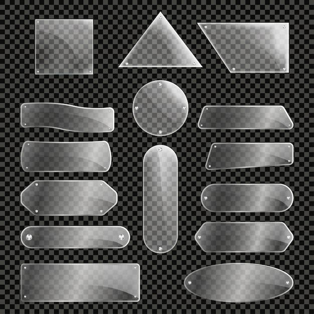Set di lastre di vetro isolato Vettore Premium