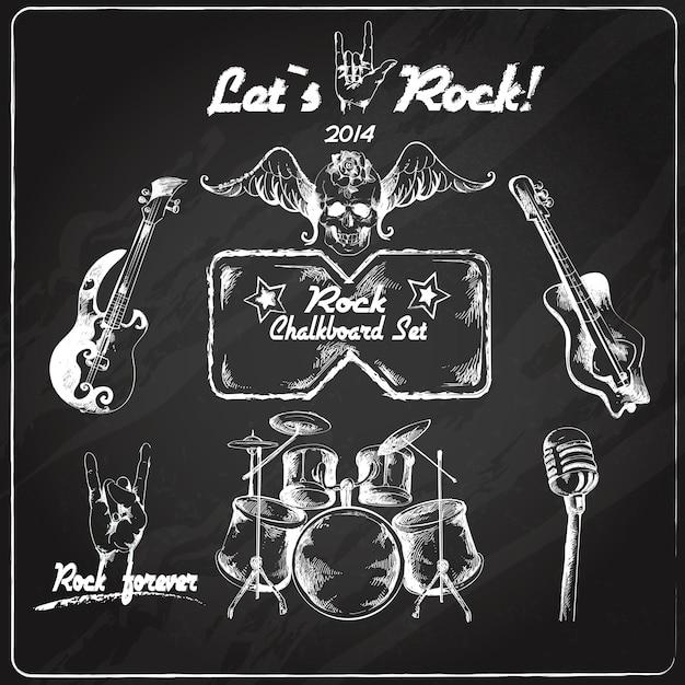 Set di lavagna musica rock Vettore Premium