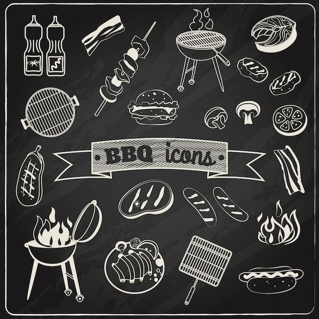 Set di lavagna per barbecue Vettore gratuito