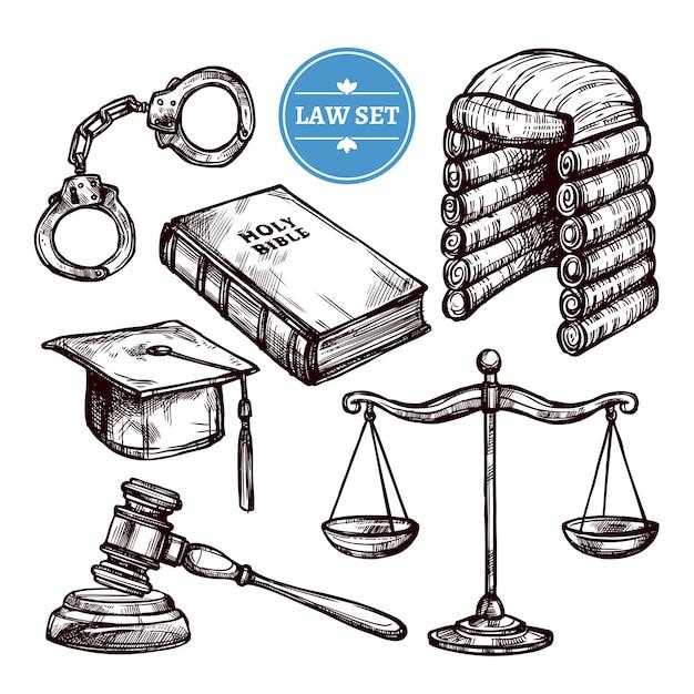 Set di legge disegnata a mano Vettore gratuito