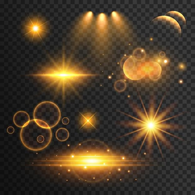 Set di lens flare trasparente ed effetti di luce Vettore gratuito