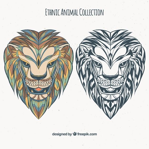 Set di leoni etnici a colori e in bianco e nero Vettore gratuito