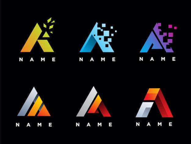 Set di lettera un modello logo Vettore Premium