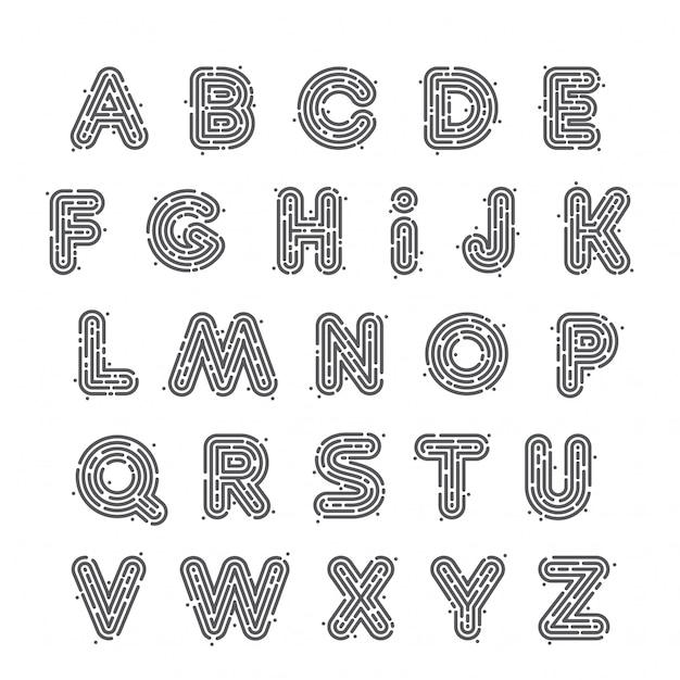 Set di lettere al neon in bianco e nero o impronte digitali. stile del carattere, elementi del modello di progettazione. Vettore Premium