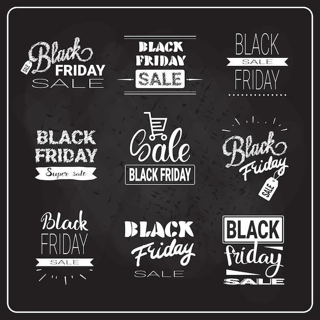 Set di lettere del black friday Vettore Premium