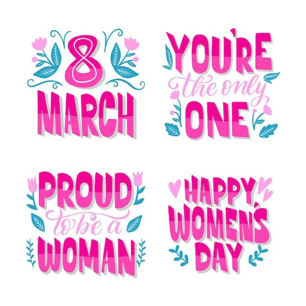 Set di lettering badge giorno delle donne Vettore gratuito