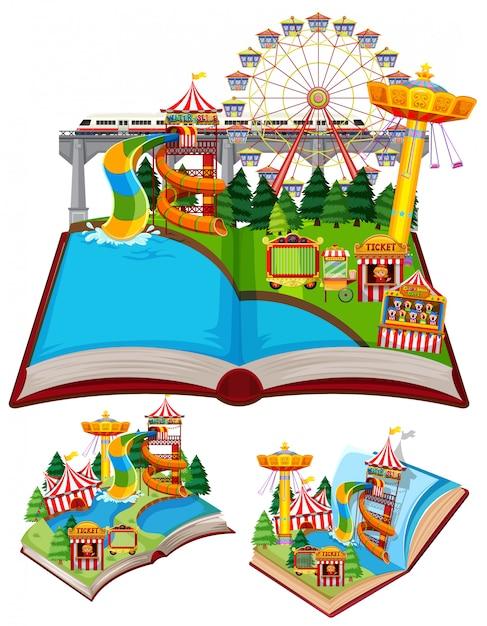 Set di libri con molte giostre nel circo Vettore gratuito