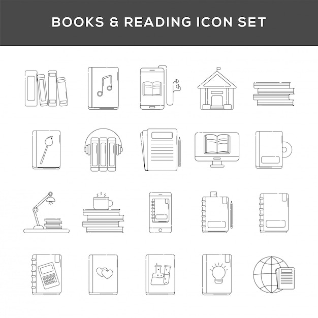 Set di libri e icona di lettura in linea arte. Vettore Premium
