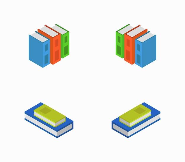 Set di libri isometrici Vettore Premium