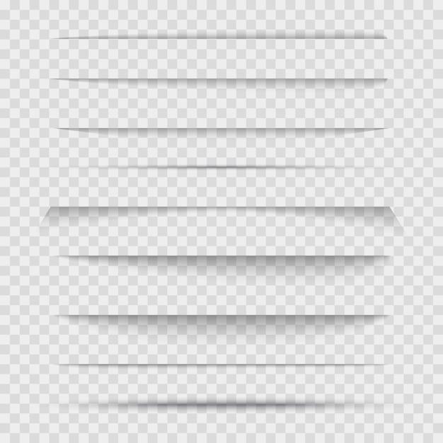 Set di linea di separatori trasparenti con le ombre. Vettore Premium