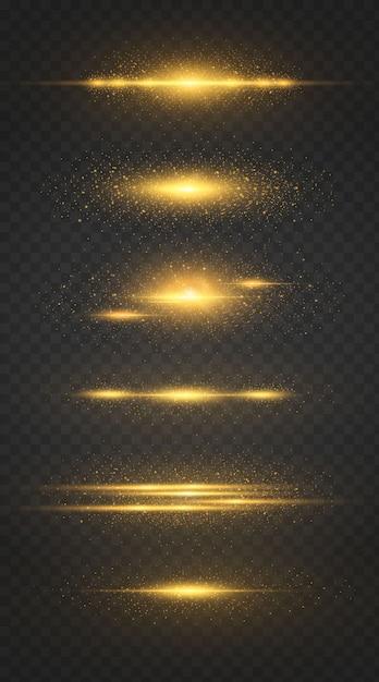 Set di linea luminosa con scintille su uno sfondo nero, effetto luce, colore dorato. Vettore Premium