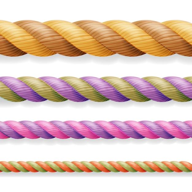 Set di linee di corda di colore diverso spessore 3d Vettore Premium