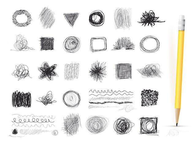 Set di linee di inchiostro di texture disegnate a mano, scarabocchi di penna. disegno a mano libera illustrazione vettoriale isolato Vettore Premium