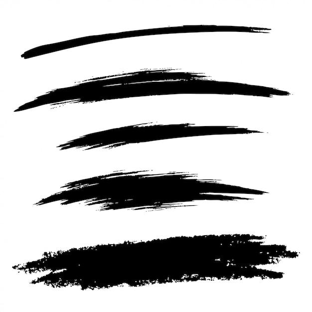 Set di linee di pennello grunge disegnato a mano, Vettore Premium