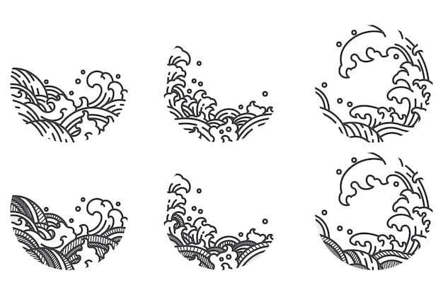 Set di linee tradizionali a onde d'acqua. Vettore Premium