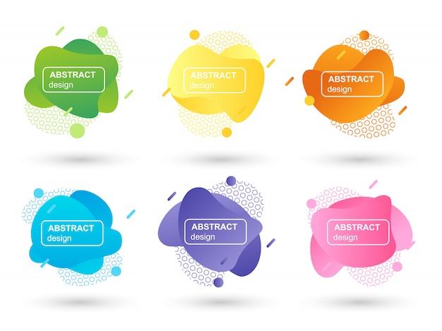 Set di liquido astratto forme elementi grafici moderni Vettore Premium