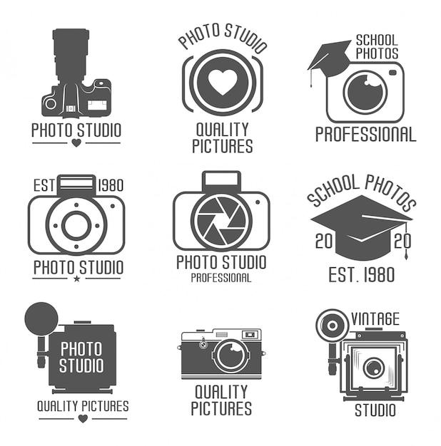 Set di loghi di studio. icona school-studio. macchina fotografica d'epoca. sfondo bianco. illustrazione. fotografia professionale Vettore Premium
