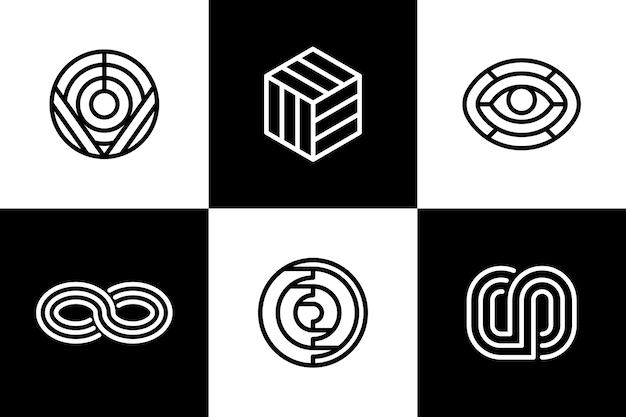Set di loghi lineari astratti Vettore gratuito
