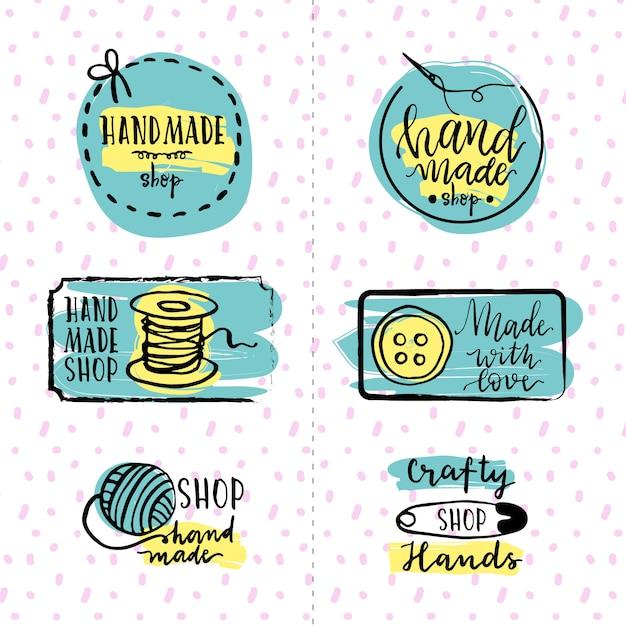 Set di logo a mano Vettore gratuito