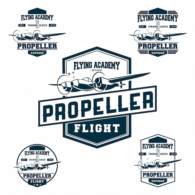 Set di logo aeronautico Vettore Premium